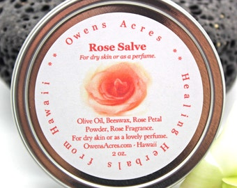 Rose Salve, for Dry Skin, Solid Perfume, Dry Skin, Itchy Skin, Herbal Salve, Solid Perfume, Handmade Salve