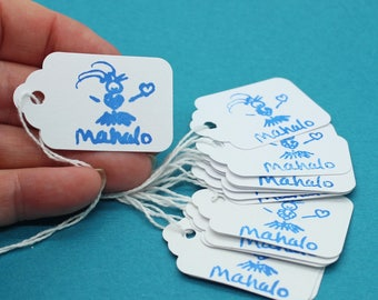 Hang Tag, Hula Mahalo Hang Tag, Wedding Favor Tag, Price Tag, Small Hang Tag, Mahalo Tag, Hula Girl, Party Favor Tag