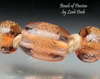 Handmade BHB Glass Beads of Passion Leah Deeb - 3pc Peach n Gold Big Hole