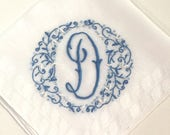 Vintage White Handkerchief with a Something Blue Initial D - Hankie Hanky