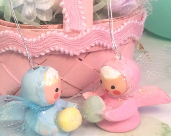 Easter ornaments pink and blue wooden easter spring vintage angel boy and girl easter decor