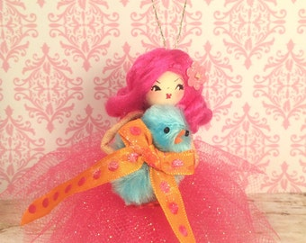 Easter ornament spring decor easter doll pink hair doll vintage retro inspired