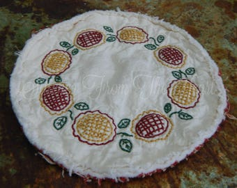 Flower Blooms Candle Mat, Hand Stitched, Flowers, Spring, Gardener