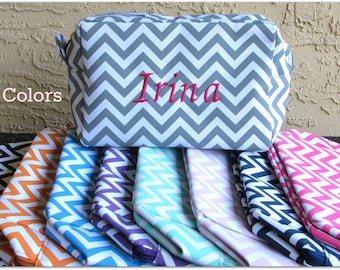 Personalized Bag Utility Organizer Bag Chevron  Monogrammed Makeup Bag Cosmetic Travel  Bag, Zipper Bag, Bridesmaid Gift Teacher Gift