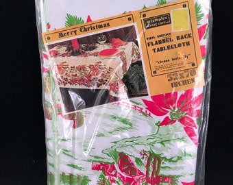 Vintage New in Package Vinyl Surface Polyester Flannel Back Christmas Poinsettias Tablecloth