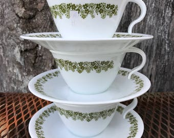 Set of 3 Vintage Corelle Corning Ware Crazy Daisy Spring Blossom Cups and Saucers