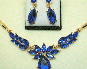Blue Rhinestone Necklace And Earrings - Blue Wedding Jewelry = Prom - Sapphire Blue - Near Mint
