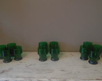 Vintage Anchor Hocking forest green Georgian tumblers 16 ounce water glasses, 1950s, 1960s