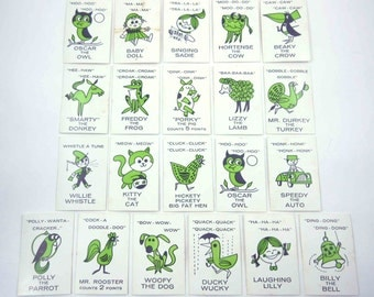 Vintage Playing Cards with Adorable Characters and Animals Set of 21