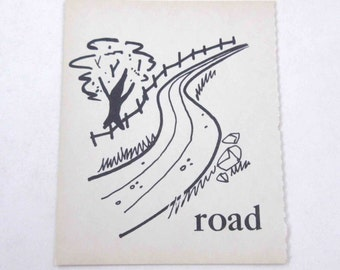 Vintage Children's Ivory School Flash Card with Picture and Word for Road