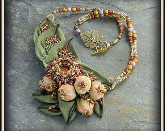 HOLD FOR TERRY Beaded Seeds of Autumn Necklace Beadweavon Seed beads, silk and glass by Hannah Rosner