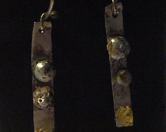 Granulated Sterling and Keum Boo  Drop earrings