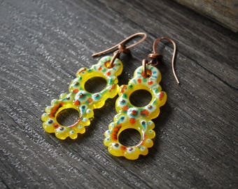Gypsy - Beautiful Boho Unique Fused Glass Earrings
