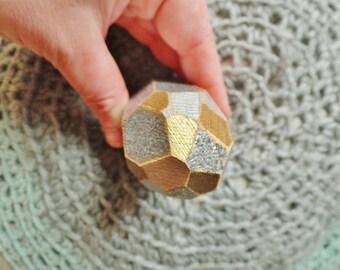 Metallic Wooden Crystal Sculpture Small Unique Art Office Art Glam Objet D'art Boho Decor Boho Sculpture Faceted Geometric Minimalist Art