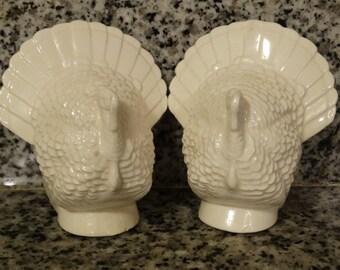 White Turkey  Salt & Pepper Shakers, Thanksgiving Birds, White Turkey Salt and Pepper Shakers, Gobble Gobble, Holiday Table Decor