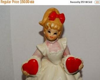 On Sale Vintage Lefton 2 Hearts Valentine Day Girl Music Box Figurine 2183, Sweetheart Music Box Figurine, Blonde,Candy Hearts, Valentine Gi
