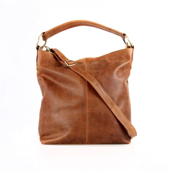 tan leather handbag hobo tote purse by theleatherstore on etsy