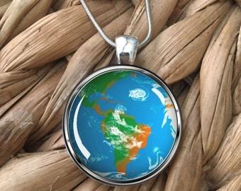 World Globe Earth Travel Lovers Wanderlust Glass Pendant Necklace