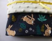 Large Minky Blanket -Bunny Hop Dusk - Minky lined cotton baby blanket