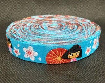 "5/8"" Japanese Girl Woven Jacquard Ribbon - Per Yard"