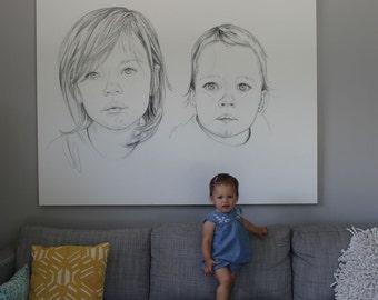 Custom Charcoal Illustration on Canvas