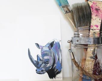 Rhododendron the Rhinoceros, Rhino, Rhino Art, Rhino Portrait, Rhino Painting, Animal Art, Mini Painting