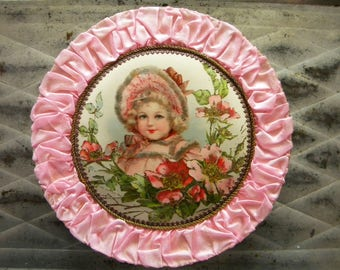 Antique French Candy Box with Pink Silk Edging Child Surrounded by Roses with Celluloid Top