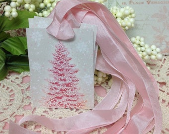 Set of 6 Vintage  Pink Christmas Trees, Glittered Christmas Trees, Pink Glittered Christmas Tree, Glittered Christmas Tree, Pink Christmas