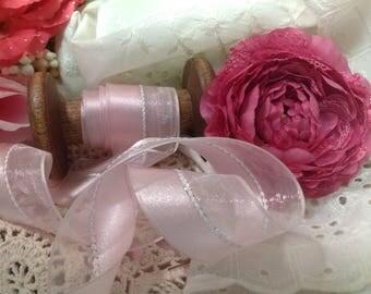 Pink Satin Wired Ribbon, Satin ribbon, Silver Ribbon, Bridal Ribbon, Wired Ribbon, Silver Thread
