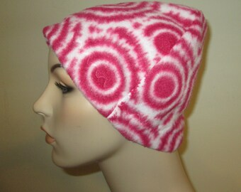Pink Circles  Cancer  Anti Pill Fleece Hat, Winter Hat, Cancer, Chemo Hat,