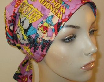 Scrub Cap  Chemo Cap Wonder Woman Supergirl Hat, Cancer, Chemo Hat, Turban, Hair Loss