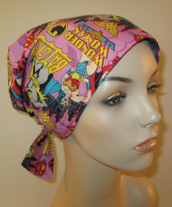 Scrub Cap  Chemo Cap Wonder Woman Supergirl Hat, Cancer, Chemo Hat, Turban, Hair Loss