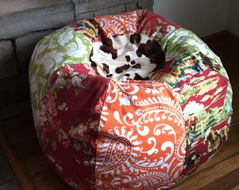 NEW Retro Rodeo Cowboy with faux furry cow and paisley prints bean bag chair UNFILLED with liner