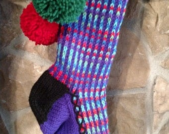 Old Fashioned Hand Knit Heartfelt Royal Purple Stripe Christmas Stocking with Red Flower detail