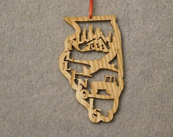 Wood State Ornament - Illinois