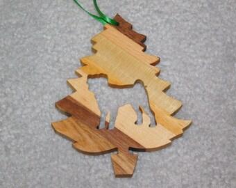 Wood Christmas Tree Dog Ornament -  Pug