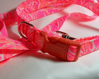 Handcrafted Lilly Pulitzer Tappin It Back 2017 Fabric Dog Collar & Leash Set