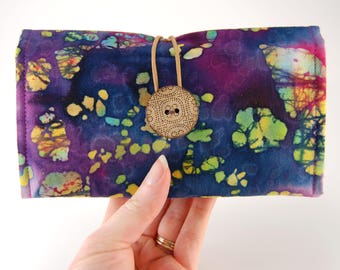 Fabric Checkbook Cover for THREE Checkbooks, Checkbook Holder, Multiple Checkbooks, Tie Dye Batik