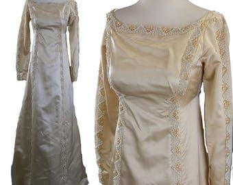 Vintage 60s beaded ivory silk wedding dress gown Priscilla of Boston