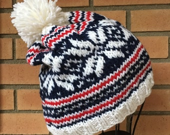 Red White & Blue Nordic Star Wool Hat