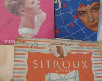 Collection of 1940s-50s WOMENS Real Hair HAIRNETS