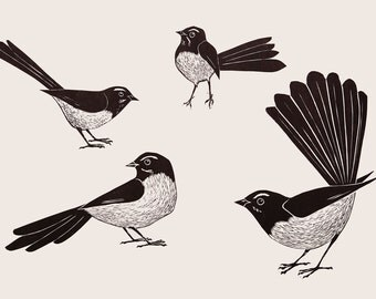 Original Hand Cut Lino Print of Australian Willie Wagtails by Bridget Farmer