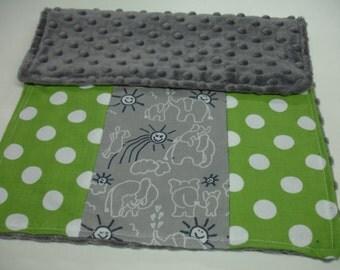 Elephants You Are My Sunshine Navy Gray Green Minky Burp Cloth 12 x 16 READY TO SHIP
