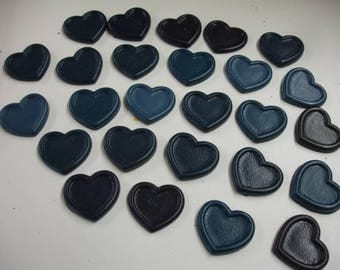 Hearts with Borders Shape Crayons in Teal and Blue 26 Pieces