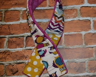 deluxe Plush  Camera Strap Cover with minky backing Mustard Yellow / Magenta / Navy / Aqua OWLS  Ruffled Patchwork