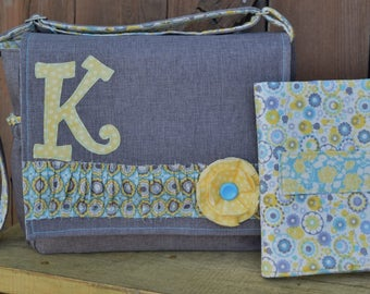 YELLOW AND BLUE FLoRAL traditional messenger style cross body diaper bag in brown,  blue, yellow, grey print fabrics
