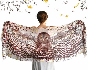 Owl Scarf, Hippie Clothes, Burning Man Clothing, Animal Scarf, Bridal Accessories, Wedding Gift, Owl Clothing, Hippie Wedding Dress