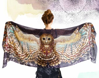 Owl Scarf, Pashmina Scarf, Wings Wrap, Owl Shawl Wrap, Silk Scarf, Birds Scarf, Wearable Art, Feather Print Scarf, Nature Scarf