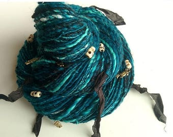 ON SALE Pirate Art Yarn - UNDER Jolly Roger - Ocean Turquoises and Teals, Black, White, with Skull Beads, Silk Fabric, Parrot Charms. 184 y,