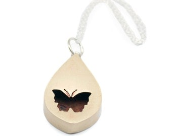 Tiny Butterfly Shadowbox Pendant Necklace in Brass with Sterling Silver Chain